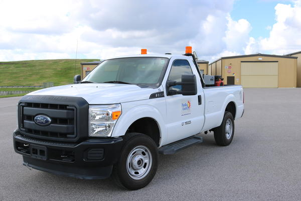 This is one of the eight fogging trucks used to spray insecticide throughout Pinellas County.
