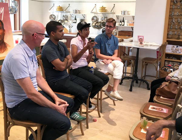 "Writer John Birdsall (from left), photographer Nik Sharma, restaurateur and chef Preeti Mistry talk about the concept of the ""queer kitchen"" with Lukas Volger, the editor of <em>Jarry</em>, a gay men's food magazine."