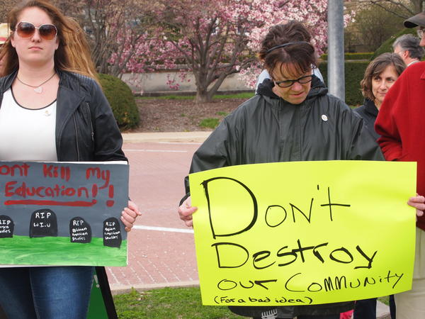 Demonstrators outside Sherman Hall at the beginning of the rally.