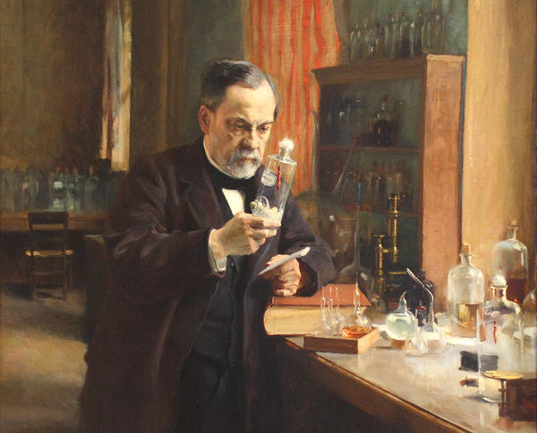 Painting of Louis Pasteur working in his lab, 1885