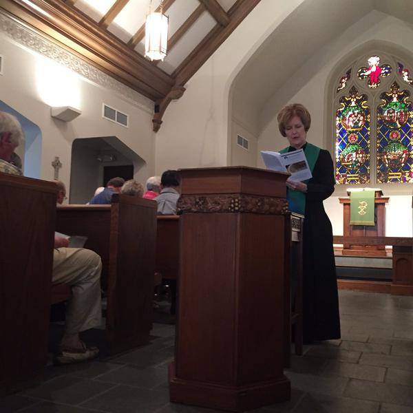 Congregants gathered at First Presbyterian Church in Dallas Sunday morning.