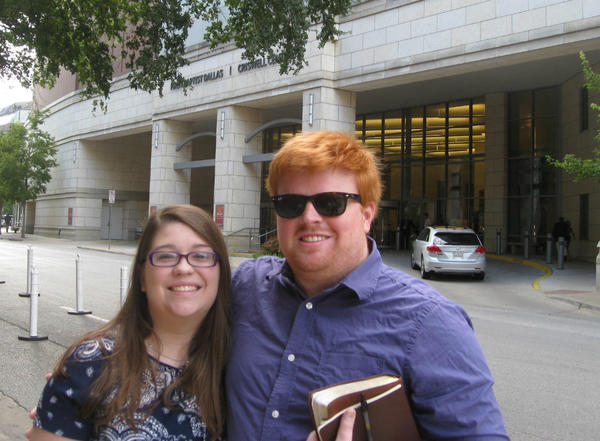 Kayla and Nathan Warren in front of First Baptist Dallas.