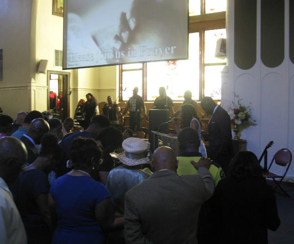 Congregants gather at St. Paul United Methodist Church in Dallas.