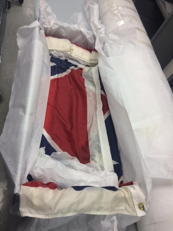 The nylon Confederate battle flag remains in storage at The Relic Room and Military Museum.