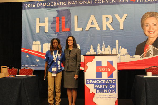 Attorney General Lisa Madigan and a young volunteer at the 2016 Democratic National Convention Illinois delegation breakfast.