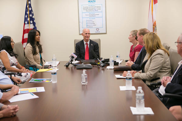Gov. Rick Scott meets with education leaders to discuss mosquito control and Zika.