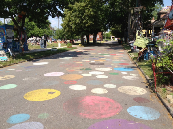 Polka dots cover the streets of the Heidelberg Project.