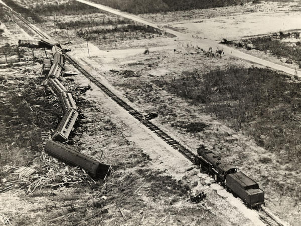 When the storm surge hit the train sent to rescue the people in Islamorada, only the engine was heavy enough to withstand the force.