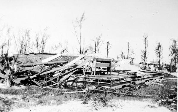 A house destroyed by the 1935 Labor Day Hurricane.