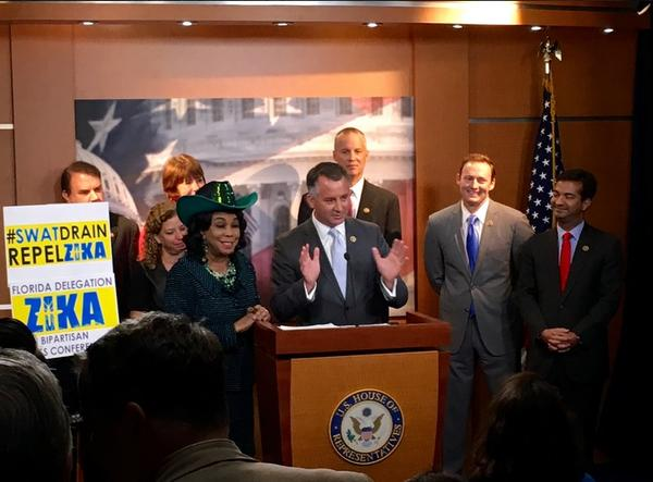 Congressman David Jolly (R-FL) joined by other members of Florida's Congressional Delegation, which includes Republicans and Democrats, at a bipartisan press conference Tuesday.