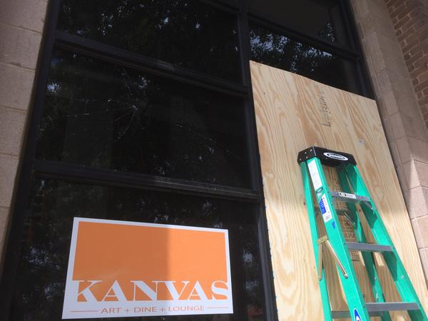Clean up at Kanvas, a lounge at 6th and Davidson.