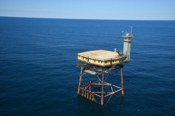 The Frying Pan Tower is former Coast Guard tower 34 miles off the North Carolina coast. Richard Neal has converted it into a bed and breakfast.