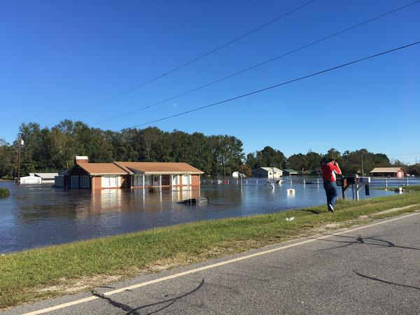 Flooding continued into Monday, October 10, 2016 south of downtown Lumberton in the aftermath of Hurricane Matthew.