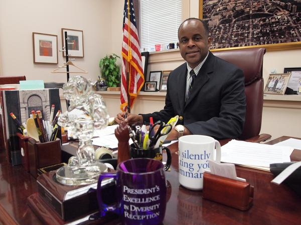 WIU President Jack Thomas in his office during the first week of the 2016-17 school year.
