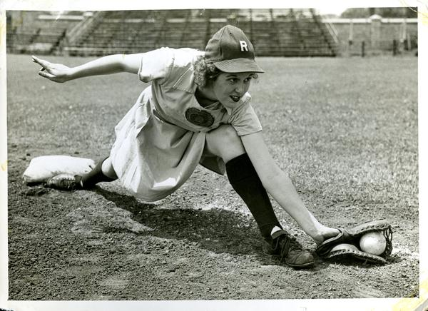 Marnie Danhauser fielding for the Racine Belles (date unknown)