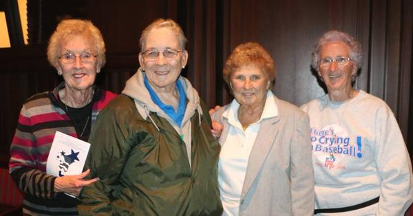 Former AAGPBL players attending the GVSU Loosemore Auditorium Premier on October 21st. (Left to right: Marilyn Jenkins, Rosemary Stevenson, Dolly Konwinski, Mary Moore)