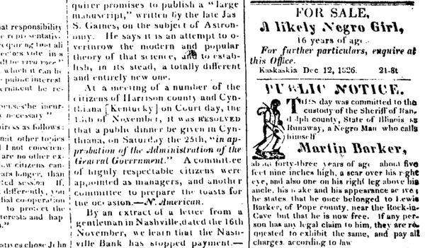 The Illinois Reporter,  December 12, 1826