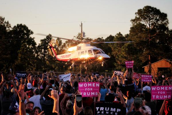 Trump flew from Palm Springs on his own helicopter.