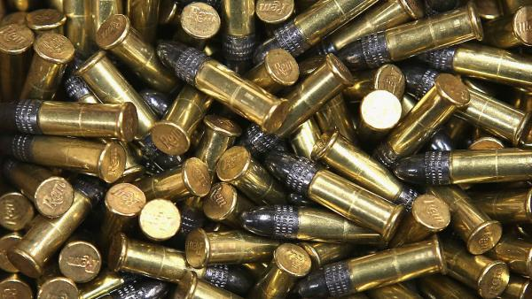 A box of 500 .22 cal. bullets are offered for sale at an Illinois gun store in 2012. California voters are voting on a measure that would require ammunition buyers to face the same background checks gun buyers in the state do.