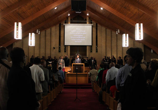 The congregation at New Light Missionary Baptist Church in Greensboro, NC took part of an initiative called Souls to the Polls that sought to increase African-American voter turnout in the 2016 general election.