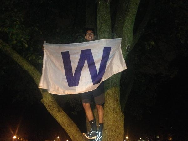 Flying the W in a tree on the ISU Quad