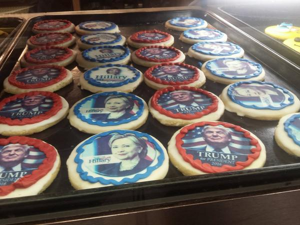 Shortbread cookies with candidate's faces and icing