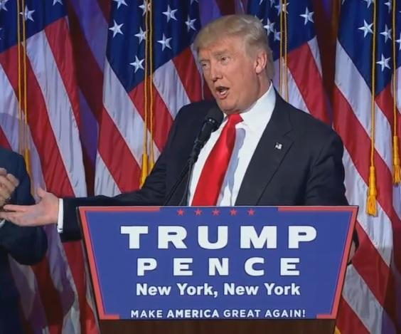 Republican Donald Trump delivers his acceptance speech during the early hours of Nov. 9, 2016