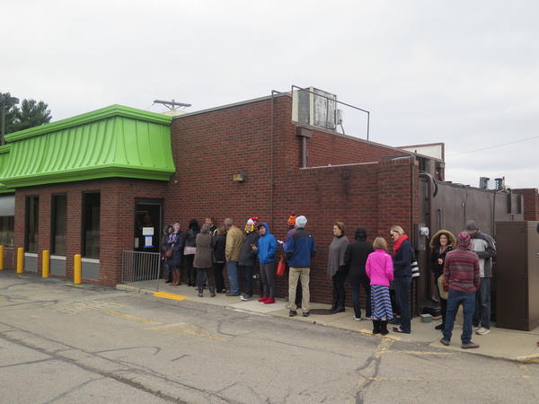 The line outside Holy Chicken in Columbus near Westerville.