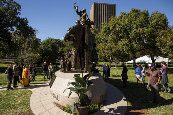 The new African-American Memorial Monument on the south lawn of the Texas Capitol.