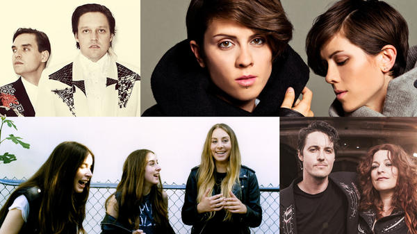 Clockwise from upper left: Arcade Fire by Guy Aroch, Tegan And Sara, Shovels & Rope by Leslie Ryann Mckellar, HAIM by Tom Beard