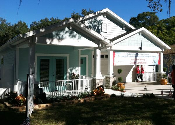 The brand new home of wounded combat veteran Justin Lansford and his wife Carol. It was built entirely with donations from the Tampa Bay community.