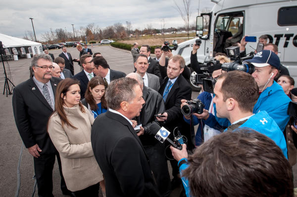 Gov. John Kasich talks to reporters after ODOT event in Dublin.