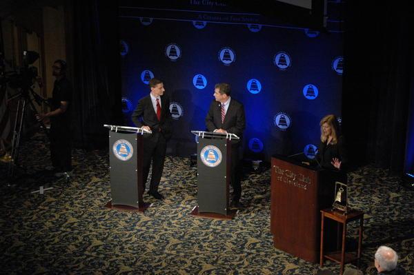 Treasurer Josh Mandel and U.S. Sen. Sherrod Brown squared off in a debate before the City Club of Cleveland in 2012.