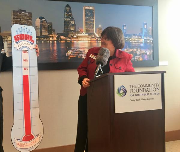 JASMYN Executive Director Cindy Watson announces her nonprofit's raising of $700,000 toward eliminating HIV and AIDS in Jacksonville.