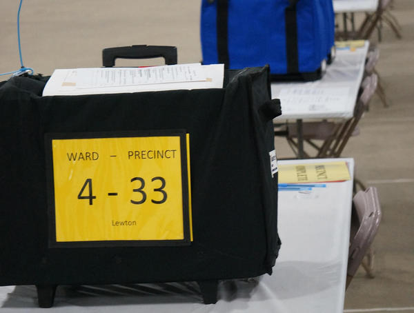 A ballot box waits to be recounted in Ingham County during Michigan's recount effort.