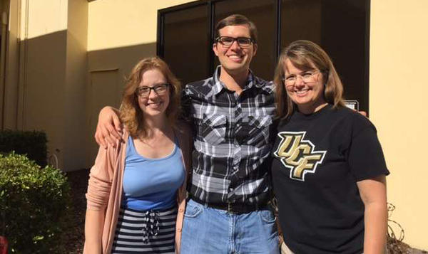 From left, speech language pathologist Arianna Morgart, stroke surviver Wade Cole and Stephanie Cole, Wade's mother.