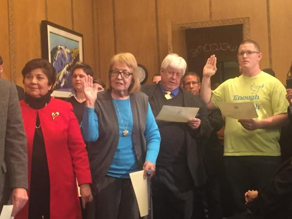Michael Baca (far right) took the oath with the other electors, but he didn't vote for Clinton.