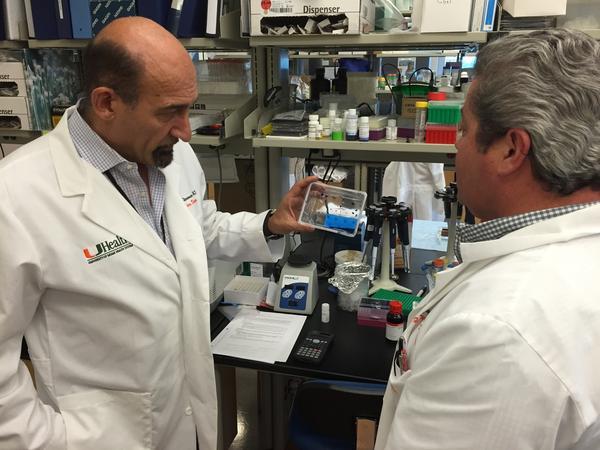 UM's Mario Stevenson (left) examines the new Zika virus detection test at his team's Miami lab.