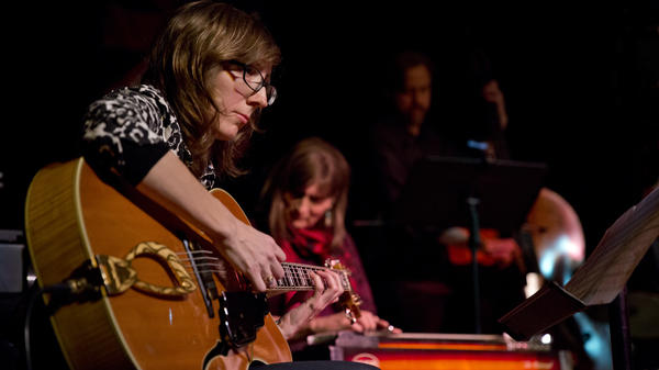 Guitarist Mary Halvorson performs a humble 7 p.m. hit in a classroom at The New School during Winter Jazz Fest.