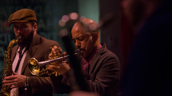 Tenor saxophonist Tim Haldeman and Cornetist Ben Lamar Gay perform with Mike Reed's Flesh & Bone at Winter Jazzfest.