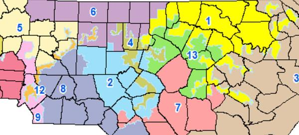 Congressional district 12 is orange on the left, and congressional district 1 is yellow on the right.