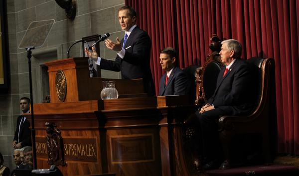 Gov. Eric Greitens speaks during his first State of the State address in Jefferson City.