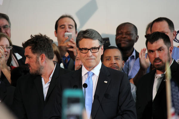 Perry at his presidential campaign launch in 2015.
