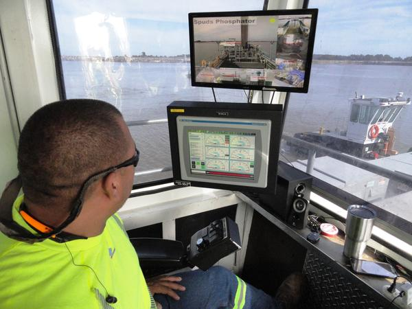 Inside the control room of the dredger