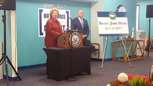 "U.S. Senator Debbie Stabenow speaking about the ""Bring Jobs Home Act"" in Detroit"