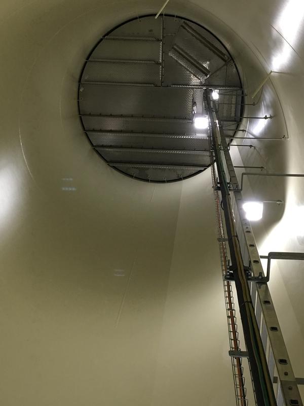 The inside of a wind turbine at a wind farm near Elizabeth City, N.C.