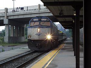 Amtrak train arriving in Ann Arbor