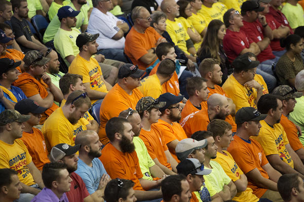 Members of labor unions watch speakers at a rally last year in St. Charles.