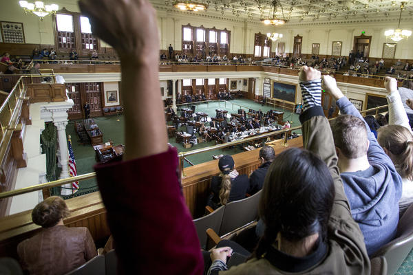 """Opponents of Senate Bill 4, which would penalize so-called """"sanctuary cities,"""" disrupted the bill's first public hearing."""