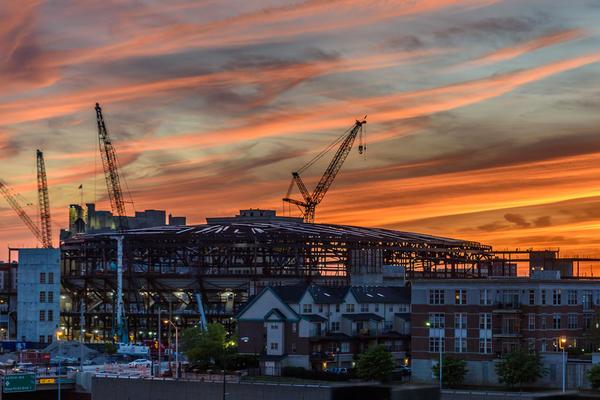 Little Caesars Arena under construction in June 2016.